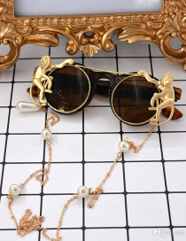 Fashion Leopard Print Folding Flip Metal Monkey Pearl Sunglasses