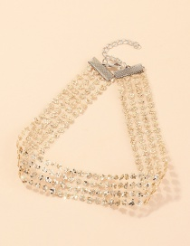 Fashion Gold Color Sequined Lace Alloy Broad Necklace