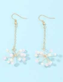 Fashion Pink Small Daisy Snowflakes Woven Pearl Chain Earrings