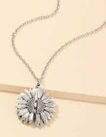 Fashion Silver Openable Sunflower Double Lettering Necklace