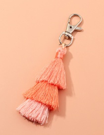 Fashion Orange Multilayer Wire Rope Tassel Contrast Color Alloy Keychain