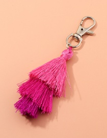 Fashion Red Multilayer Wire Rope Tassel Contrast Color Alloy Keychain