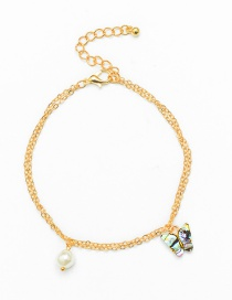 Fashion Gold Color Abalone Shell Butterfly Pearl Chain Anklet