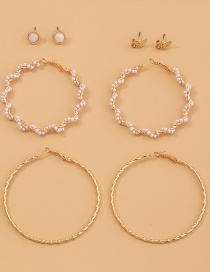 Fashion Gold Color Geometric Round Pearl Butterfly Alloy Earrings Set