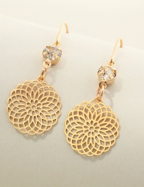 Fashion Gold Color Hollow Flower Diamond Earrings