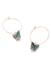 Fashion Blue Natural Abalone Shell Butterfly Alloy Earrings
