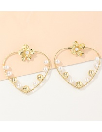 Fashion Gold Color Love Winding Pearl Flower Alloy Earrings
