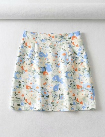 Fashion Blue Oil Painting Printed Skirt (with Safety Pants)