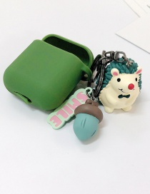 Fashion Green + Green Earphone Cover (3rd Generation Pro) Hedgehog Apple Wireless Bluetooth Headset Silicone Case