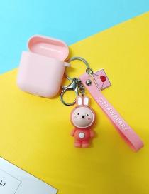 Fashion Pink Rabbit + Pink Headphone Case (3rd Generation Pro) Animal Apple Wireless Bluetooth Headset Silicone Case