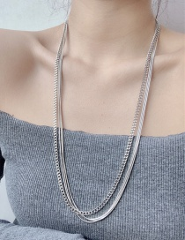Fashion Silver Long Metal Thin Chain Multi-layer Necklace