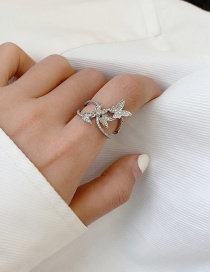 Fashion Silver (no. 7) Three-dimensional Butterfly Open Ring With Full Diamond