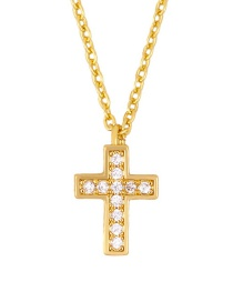Fashion Cross Cross-eye Palm Elephant Copper-set Zircon Necklace
