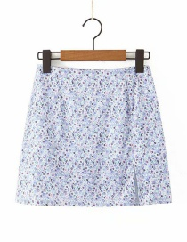 Fashion Blue Floral Print Split Skirt