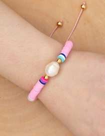 Fashion Pink Natural Pearl Hand-woven Soft Clay Bracelet Bracelet