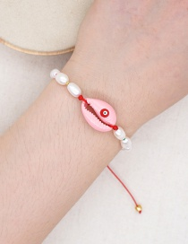 Fashion Pink Shell Hand-woven Natural Freshwater Pearl Bracelet