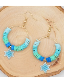 Fashion Blue Pottery Clay Hand-woven Six-point Star Earrings