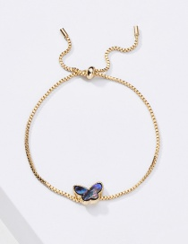 Fashion Blue Natural Freshwater Pearl Butterfly Thick Chain Bracelet