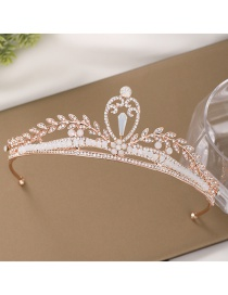Fashion Rose Gold Hollow Crown And Diamond Resin Headband