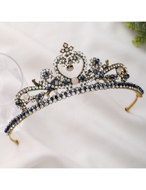 Fashion Royal Blue Crown And Diamond Resin Hollow Hair Band