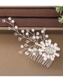 Fashion Silver Pearl Crystal Flower Alloy Hair Comb