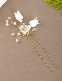 Fashion White U-shaped Hair Comb With Soft Ceramic Flowers And Diamond Crystal