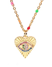 Fashion Golden Round Heart Stainless Steel Necklace With Zircon Eyes