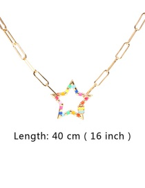 Fashion Gold 40cm Thick Chain Hollow Star Drop Oil Alloy Necklace