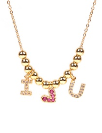 Fashion Golden Round Stainless Steel Necklace With Zircon Love Letters