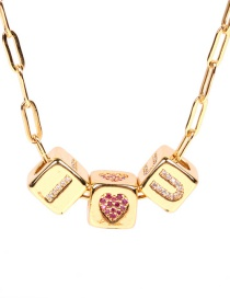 Fashion Golden Love Diamond Dice Necklace With Letters
