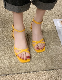 Fashion Yellow Open-toe Square High-heeled Buckle Heels