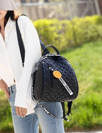 Fashion Black Wide Shoulder Strap Diamond Stud Backpack