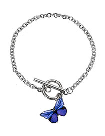 Fashion Purple Alloy Butterfly Bracelet