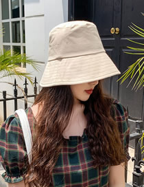 Fashion Beige Wear Solid Color Cotton Fisherman Hat On Both Sides