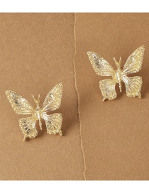 Fashion Golden Alloy Three-dimensional Butterfly Earrings
