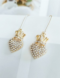 Fashion Yellow Alloy Diamond Love Crown Cutout Earrings