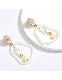 Fashion White Elephant Geometric Imitation Pearl Resin Diamond White Elephant Earrings