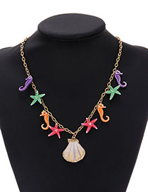 Fashion Color Alloy Resin Seahorse Starfish Shell Necklace