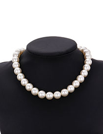 Fashion Beige Alloy Pearl Love Necklace