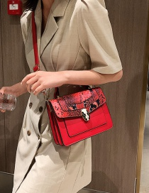 Fashion Red One-shoulder Crossbody Bag In Snakeskin And Snakeskin Stitching