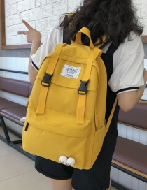 Fashion Yellow Eyelet Backpack With Buckle Stitching Letters