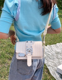 Fashion White Grids Pattern Decorated Buckle And Braided Shoulder Bag