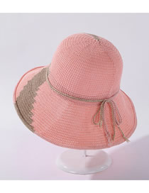 Fashion Pink Breathable Milk Silk Colorblock Tether Fisherman Hat