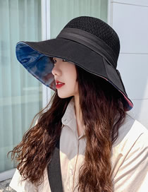 Fashion Black Knitted Stitching Bow Ink Painting Fisherman Hat
