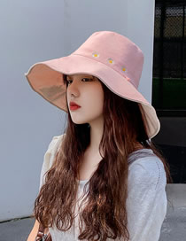 Fashion Snow Bud Powder + Rice Daisy Fisherman Hat With Big Edge Embroidery On Both Sides