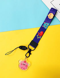 Fashion Pink Hair Monster 【short Rope】 Printed Resin Flower Animal Widen Mobile Phone Lanyard