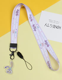 Fashion White Purple Rabbit Mobile Phone Lanyard With Printed Animal Broadband Braid