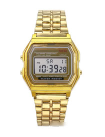 Fashion Yellow Alloy Electronic Square Steel Band Watch