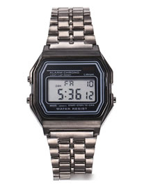 Fashion Black Alloy Electronic Square Steel Band Watch