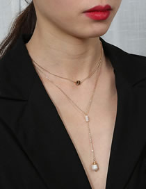 Fashion Golden Natural Pearl Letter Double Layer Necklace